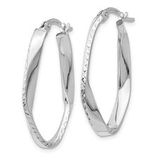 Load image into Gallery viewer, Leslie's 10K White Gold Polished & Diamond-cut Oval Hoop Earrings