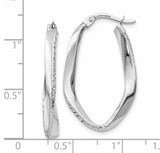 Leslie's 10K White Gold Polished & Diamond-cut Oval Hoop Earrings