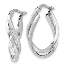 Load image into Gallery viewer, Leslie's 10K White Gold Polished Oval Hoop Earrings