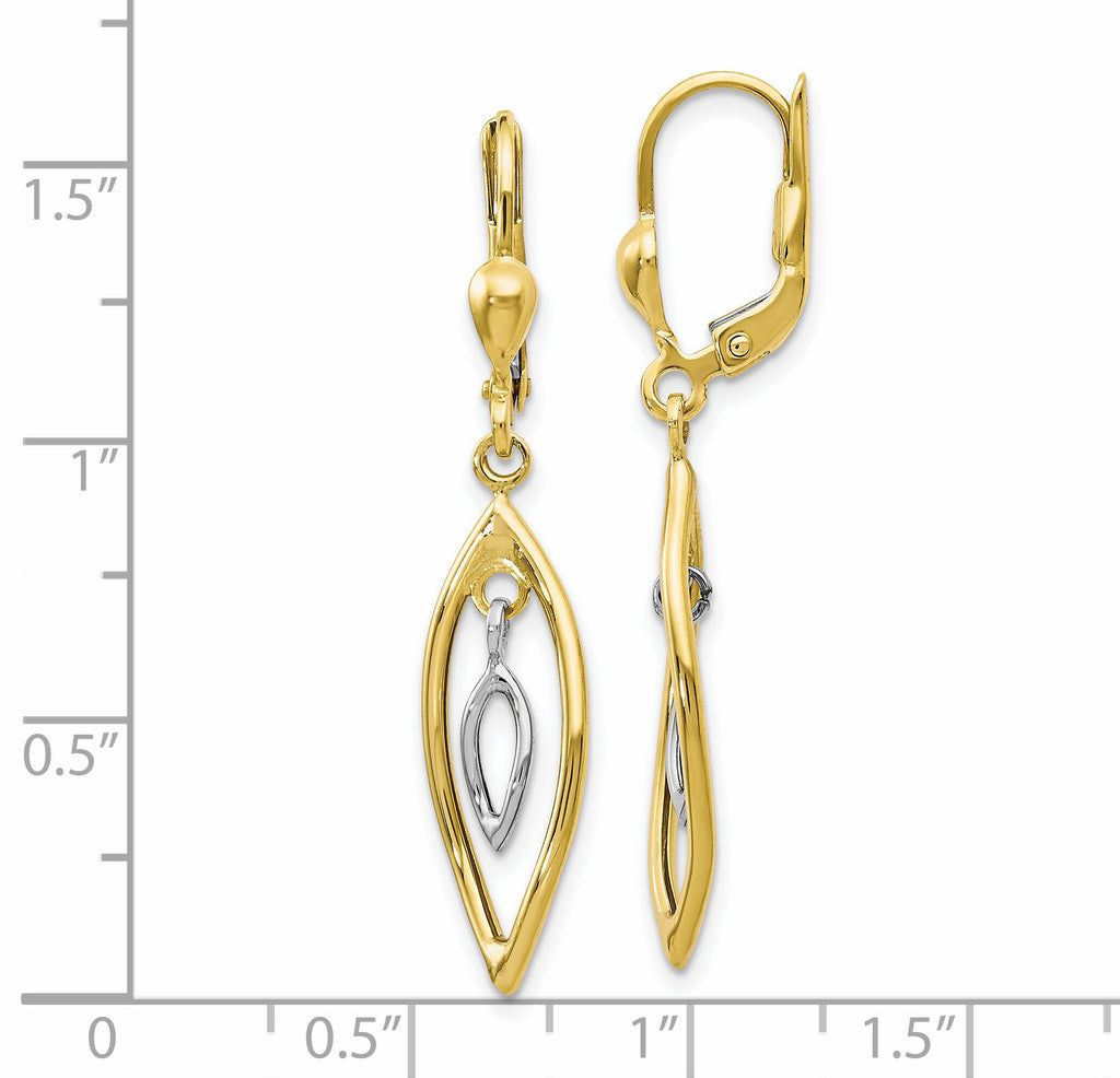 Leslie's 10K Two-tone Polished Dangle Leverback Earrings