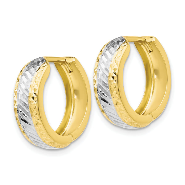 Leslie's 10K w/White Rhodium Polished and Diamond-cut Hoop Earrings