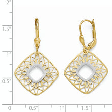 Load image into Gallery viewer, Leslie's 10K Two-tone Polished and Satin Dangle Leverback Earrings