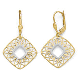 Leslie's 10K Two-tone Polished and Satin Dangle Leverback Earrings