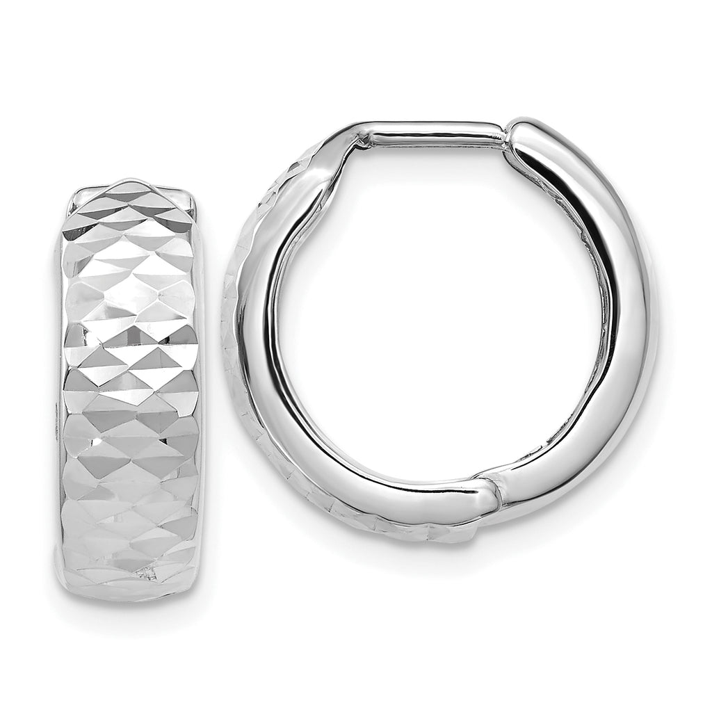 Leslie's 10K White Gold Polished and Diamond-cut Hoop Earrings