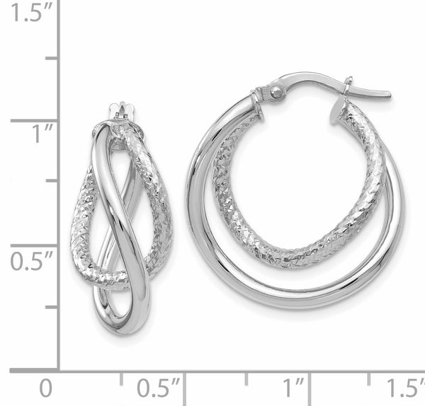 Leslie's 10K White Gold Polished and Textured Fancy Hoop Earrings