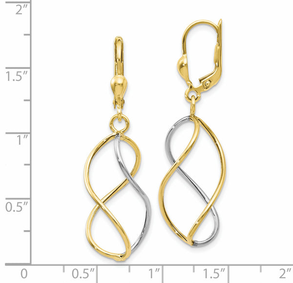Leslie's 10K Yellow with Rhodium Polished Leverback Earrings