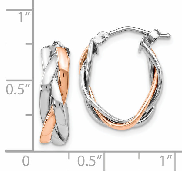 Leslie's 10K White Gold Rose Rhodium-plated Hoop Earrings