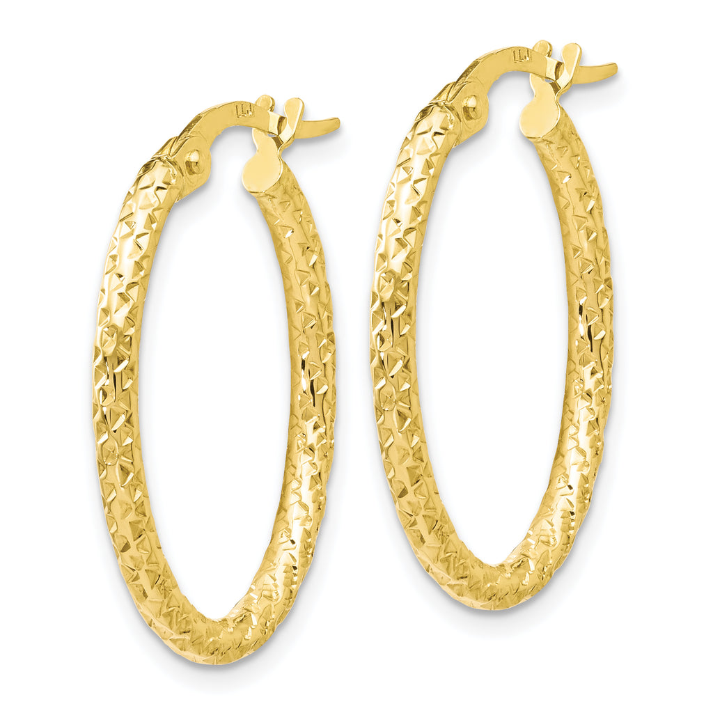 Leslie's 10K Polished Diamond-cut Oval Hoop Earrings