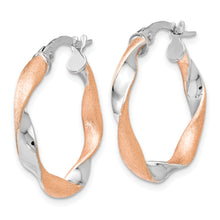 Load image into Gallery viewer, Leslie's 10K White Gold Rose-tone Twisted Hoop Earrings