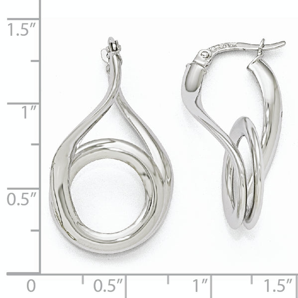 Leslie's 10K White Gold Polished Fancy Hinged Hoop Earrings
