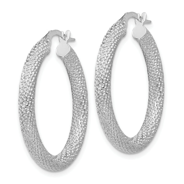 Leslie's 10K White Gold Polished and Textured Hinged Hoop Earrings