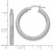 Load image into Gallery viewer, Leslie's 10K White Gold Polished and Textured Hinged Hoop Earrings