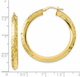 Leslie's 10K Gold Polished Diamond Cut Hoop Earrings