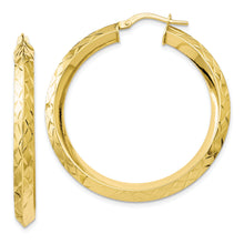 Load image into Gallery viewer, Leslie's 10K Gold Polished Diamond Cut Hoop Earrings
