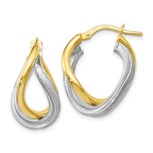 Load image into Gallery viewer, Leslie's 10K Two-tone Polished Scratch-finish Hoop Earrings