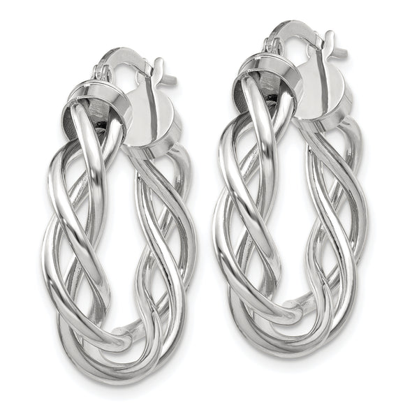 10K White Gold Polished Twisted Hoop Earrings