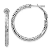 Load image into Gallery viewer, 10K 3x25 White Gold Diamond-cut Round Omega Back Hoop Earrings