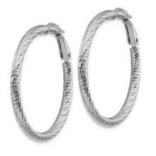 Load image into Gallery viewer, 10K 3x30 White Gold Diamond-cut Round Omega Back Hoop Earrings