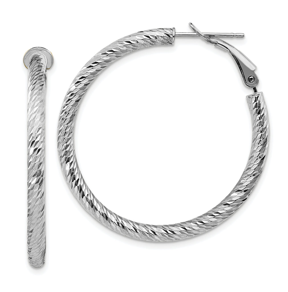 10K 3x30 White Gold Diamond-cut Round Omega Back Hoop Earrings