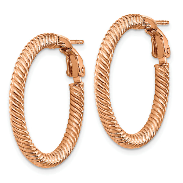 10K 3x20 Rose GoldTwisted Round Omega Back Hoop Earrings