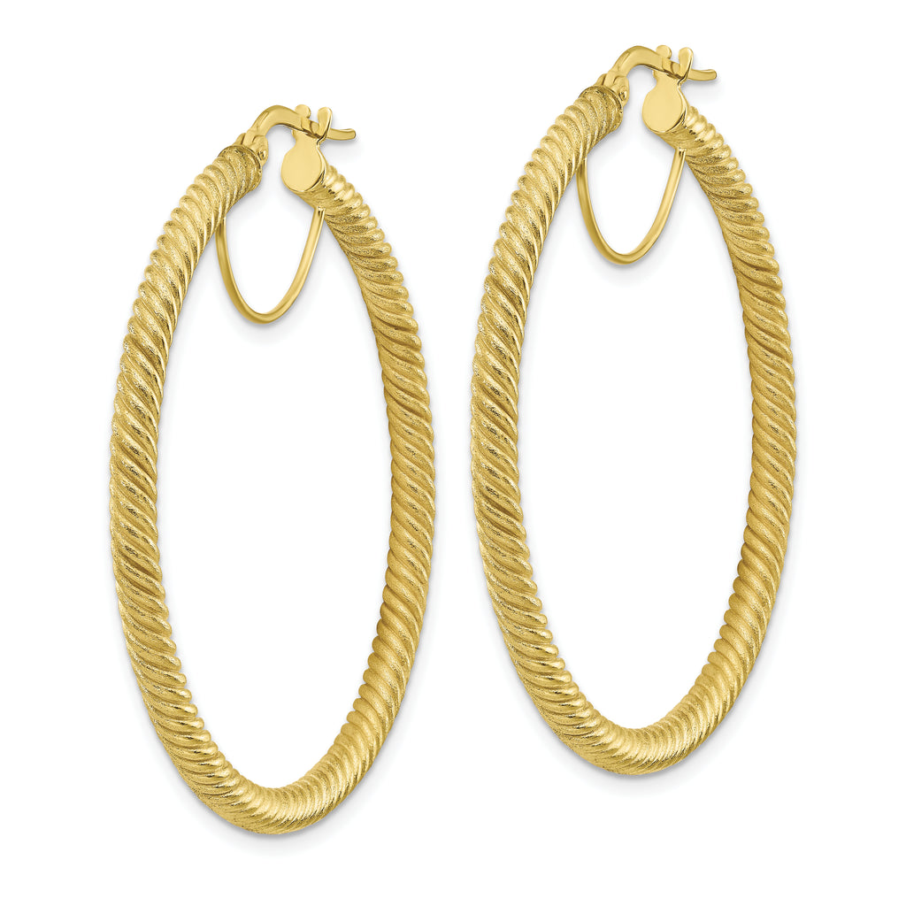 10K 3x35 Twisted Round Omega Back Hoop Earrings