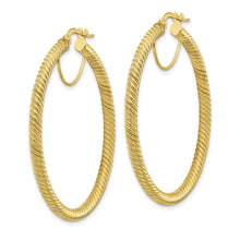 Load image into Gallery viewer, 10K 3x35 Twisted Round Omega Back Hoop Earrings