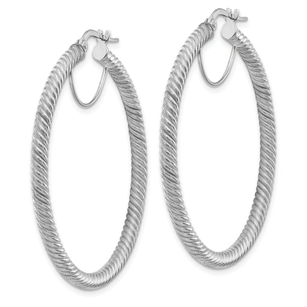 10K 3x35 White GoldTwisted Round Omega Back Hoop Earrings
