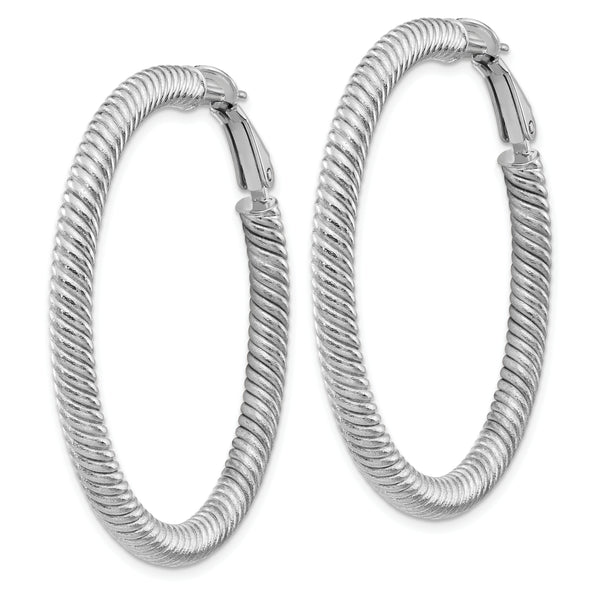 10K 4x35 White GoldTwisted Round Omega Back Hoop Earrings