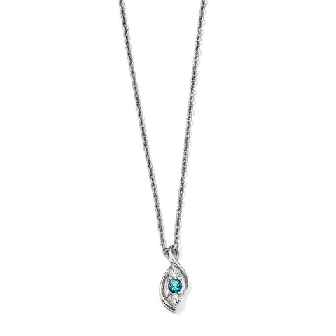 Sterling Silver Survivor Collection Clear & Blue Swarovski Topaz Legacy Nec