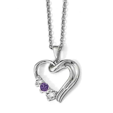 Sterling Silver Survivor Clear & Purple Swarovski Topaz Heart of Heal Neckl