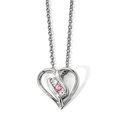 10K White Gold Survivor Clear/Pink Swarovski Topaz Heart of Support Necklace