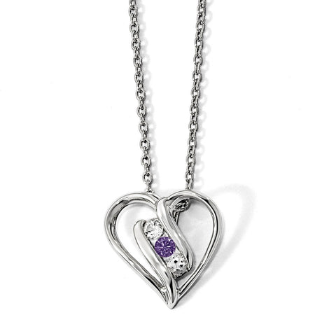 Sterling Silver Survivor Clear & Purple Swarovski Topaz Heart Support Neckl