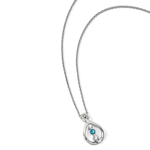 Sterling Silver Survivor Clear & Blue Swarovski Topaz Runzi Necklace