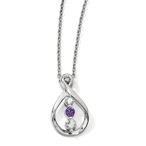 Sterling Silver Survivor Clear & Purple Swarovski Topaz Runzi Necklace