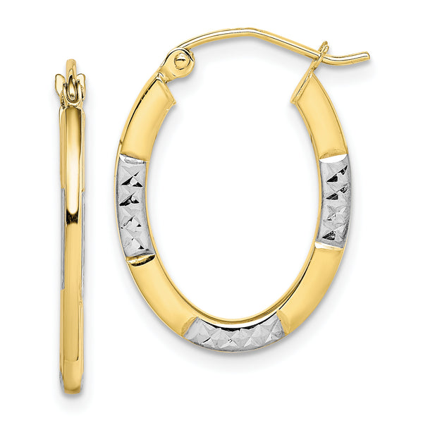 10K & Rhodium Diamond Cut Oval Hoop Earrings
