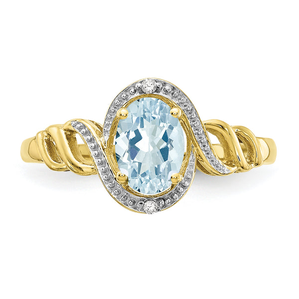 10K Aquamarine Diamond Ring