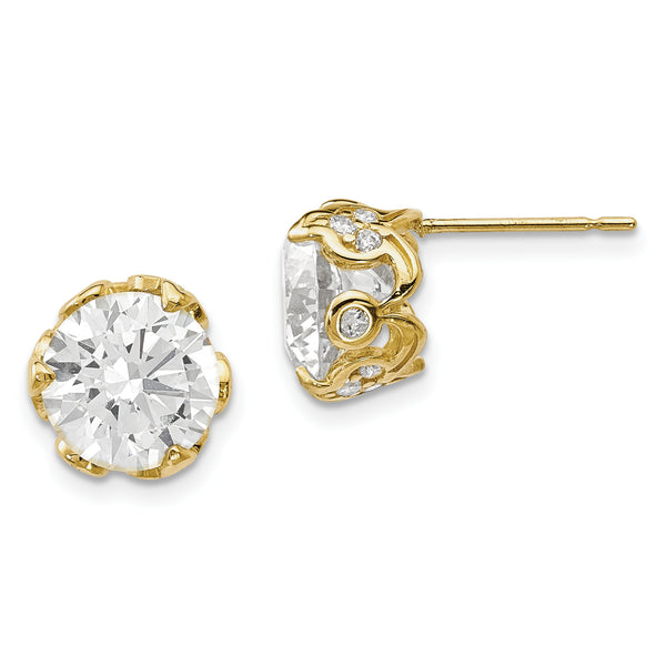 10K Tiara Collection Polished CZ Post Earrings