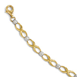 Leslie's 10K Two Tone Diamond-cut Bracelet