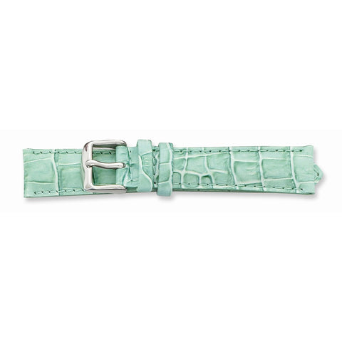 22mm Lt Grn Croc Grain Chrono Slvr-tone Bkle Watch Band