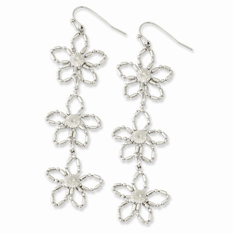 Silver-tone 3-Flower Dangle Earrings