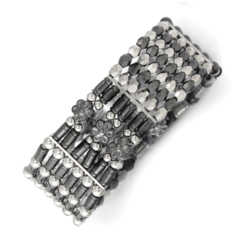 Silver-tone & Black-plated Acrylic Beads Stretch Bracelet