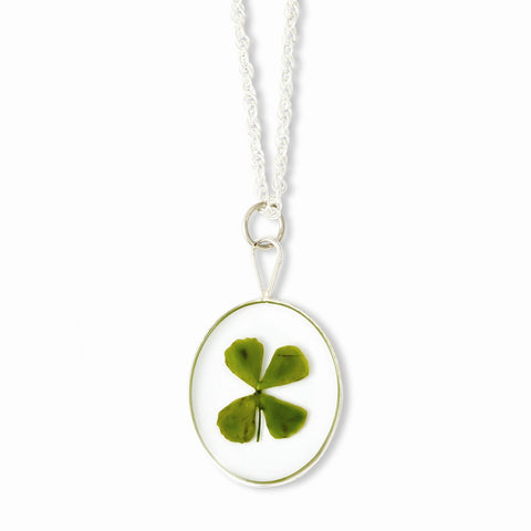 Silver Trim Four Leaf Clover Oval w/ Silver-plated Chain