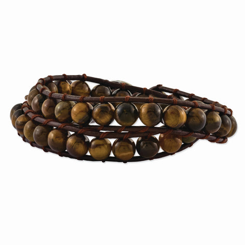 6mm Brown Beads & Leather Cord Multi Wrap Bracelet