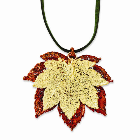 Iridescent Copper/24k Gold Dipped Double Full Moon Maple Leaf Necklace