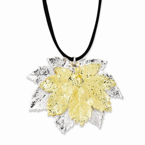 Silver/24k Gold Dipped Double Full Moon Maple Leaf Necklace