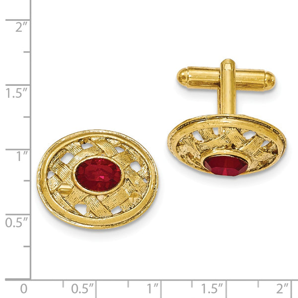Gold-tone Textured Red Crystal Cuff Links