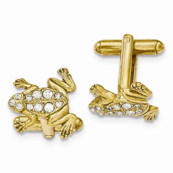 Gold-tone White Crystal Frog Cuff Links