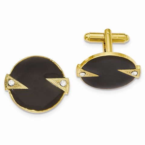 Gold-tone White Crystal Black Enamel Round Cuff Links