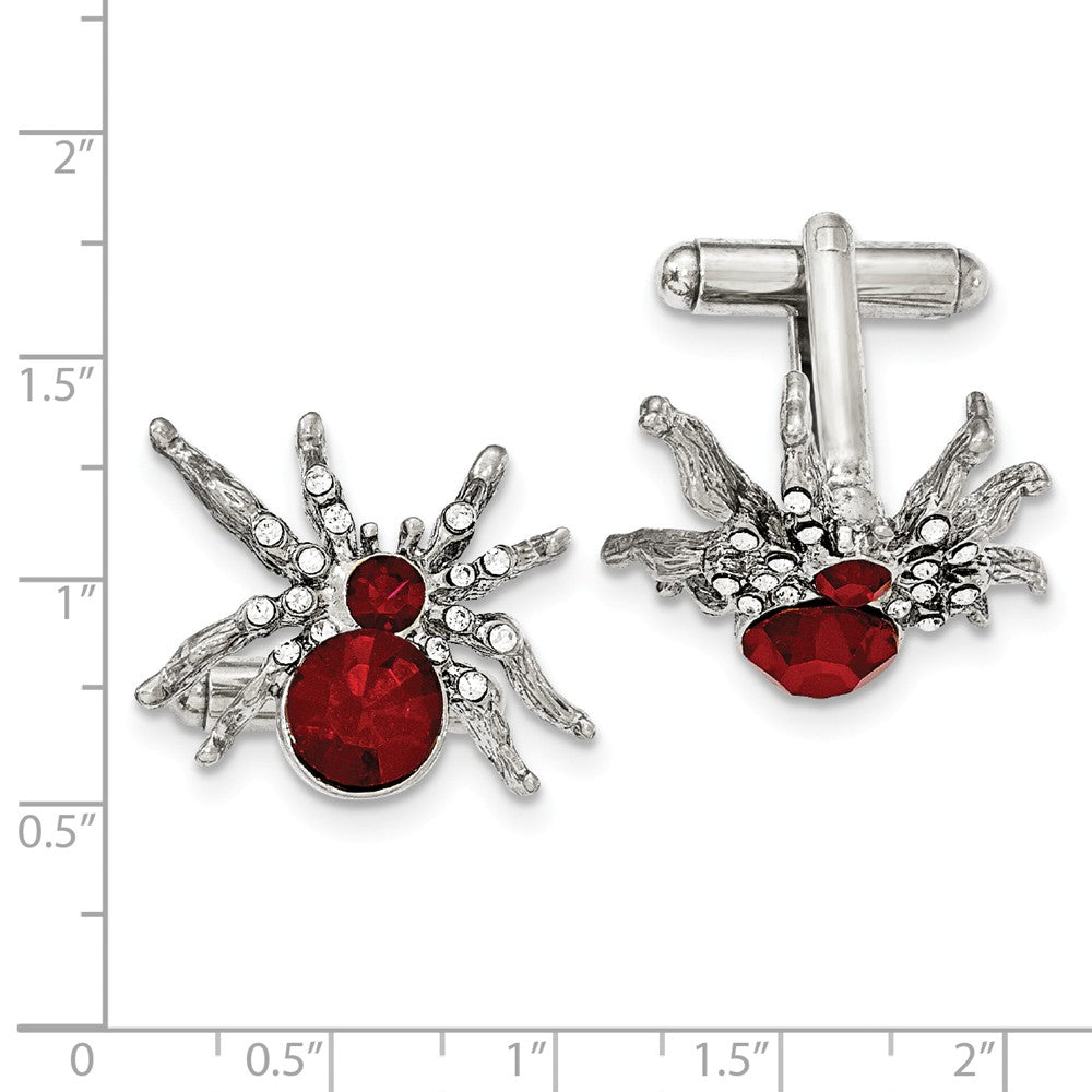 Silver-tone Red and White Crystal Spider Cuff Links