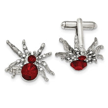 Load image into Gallery viewer, Silver-tone Red and White Crystal Spider Cuff Links